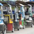 Jogjakarta: Traditional three-wheeled and pedal-powered cart, known as becak